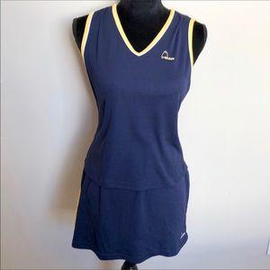 HEAD   blue tennis top & skirt - yellow shorts